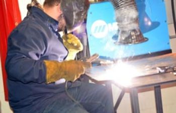 Behlen Visits Columbus High School Welding Class